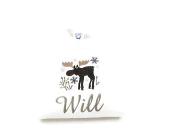 Embroidered Moose, Personalized Child's Sweatshirt,  Winter Moose