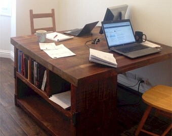 Industrial Style Reclaimed Wood Partner Desk and Shelving Combo