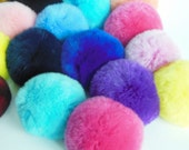 5pcs Assorted Colors Genuine Rabbit Fur Ball Fur Pom Pom 8cm