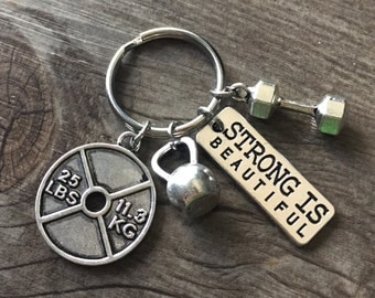 Strong Is Beautiful! - Bodybuilding 4 Charm Keychain or Necklace With Dumbbell, Weight Plate, and Kettlebell