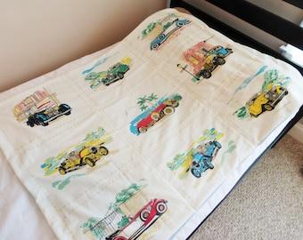 Cars Boy Blanket, Antique Cars Blanket, Retro Cars Blanket, Vintage Cars Blanket, Nice Cars Baby/Toddler Blanket, Race Cars Quilt, Playmat