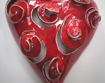 Pure Energy Hearts - Handmade Small Ceramic Heart Wall Hanging - by Lisa(LaLa) Agababian