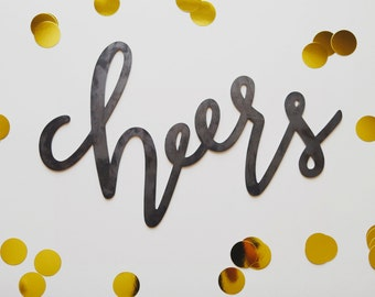 Cheers Metal Sign (Handlettered)