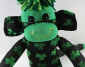 Sock Monkey / Shamrock / St. Patrick's Day / Clover / Green and Black / Gifts for Him / St. Patrick's Day Baby / Unique Gift / Gifts for Her