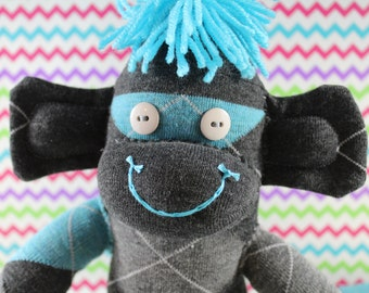 Sock Monkey / Argyle / Turquoise Blue and Grey / Nursery Decor / Baby Shower Gift / Gifts for Him / Gifts for Her / Unique Gift