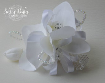 White Wrist Corsage, Wrist corsage bracelet, Wedding Corsage, Prom Corsage, Mother of the Bride Flower