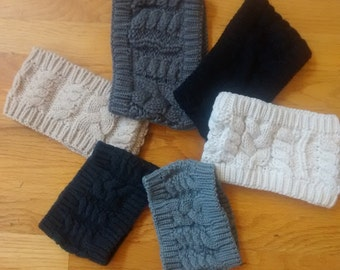 Monogrammed Cable Knit Head Wrap/Ear Warmers