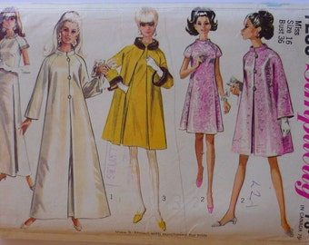 Vintage Sewing Pattern. Simplicity 7283, coat and dress pattern, bust 36""