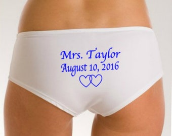 Mrs Underwear, Bridal Panties, Bridal Lingerie, Name Date on Rear, Something Blue Wedding Panties, Wedding Lingerie, Wedding Gift,