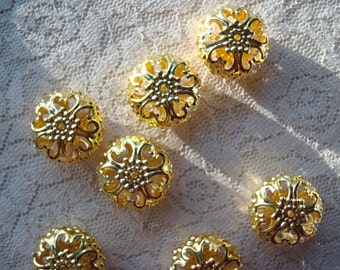 8 Giant Filigree Metal Beads. Rondelle Shape. Gold Plate Filigree Balls.  23x12mm. Beautiful and Unique. ~USPS Ship Rates from Oregon