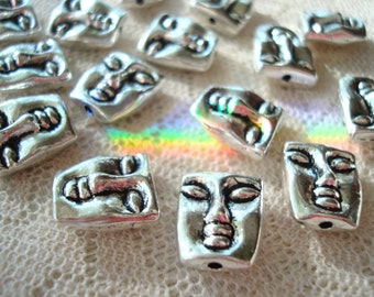 14 Praying Buddha Charms/Spacers. 12x10x6mm Antiqued Silver Sleeping Buddha Face Spacer. Double Sides.  ~USPS Ship Rates from Oregon
