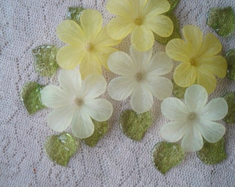Promotion! 20 Big Frosted Acrylic Flowers. Lemon Chiffon Mix. 33x8mm Biggest Yellow Flower Beads. Lightweight & Lovely.  ~USPS Rates/ Oregon