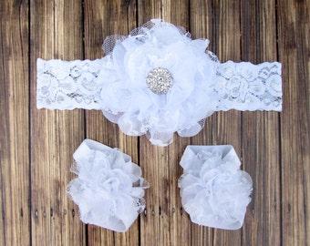 White Headband | White Barefoot Sandals | White Lace Headband | Lace Headband | Baptism Headband | Christening Headband  Flowergirl Headband