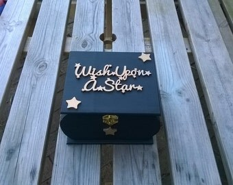 Wish Upon a Star Curved wooden keepsake box