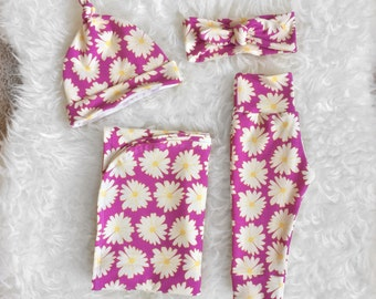 Magenta Daisy Newborn Swaddle Set, Newborn Swaddle, Newborn Swaddle Wrap, Newborn Swaddle Blanket, Newborn Going Home Outfit Girl