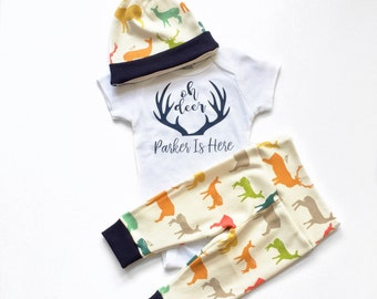 Oh Deer I'm Here, Hello World, Coming Home Set, Going Home Set, Coming Home Outfit, Going Home Outfit, Newborn Baby Boy, Personalized Baby
