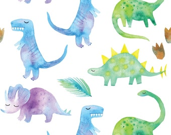 Watercolor Dinosaurs in Blue, Green and Purple - Organic Swaddle, Boppy Cover, Crib Sheet, Changing Pad Cover, Minky Sherpa Blanket
