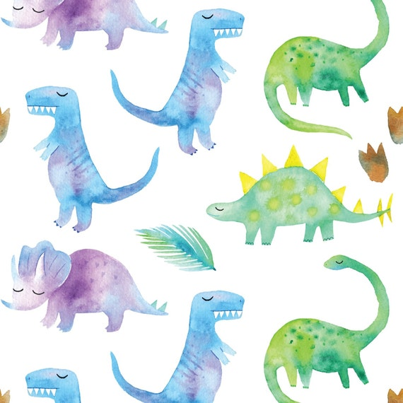 Watercolor Dinosaurs In Blue Green And Purple Organic