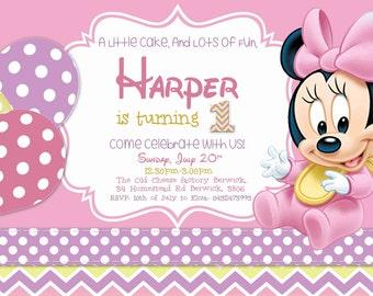 Baby Minnie Birthday Invitation/Girl Birthday/ Minnie Mouse Theme Birthday card / Printables/