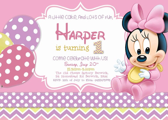 Baby Minnie Birthday Invitation Girl Mouse Theme