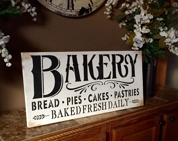 Featured listing image: Bakery Wood Sign Rustic Distressed Baked Fresh Daily