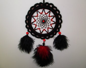 "3.7"" Black/Red Crochet Dreamcatcher - Beaded Car Dream Catcher - Rear-View Mirror Ornament - Gothic Dream Catcher - Wicca Witch Home Decor"