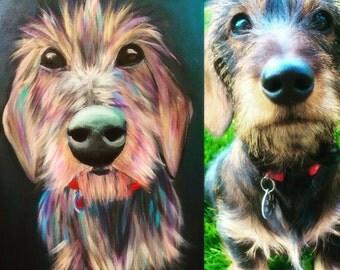 Custom Pet portaits, pet paintings, custom pet portrait on canvas or paper 30x40cm