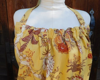 Plus size apron made of beautiful yellow floral fabric purchased in Paris.