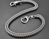 """Stainless Steel Box Weave Chain Mail Wallet Chain / Keyring 16.5"""" / 42cm+"""