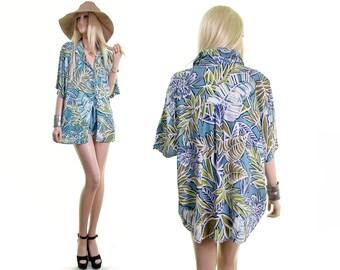 surfer girl hawaiian shirt dress tropical shirt surf shirt vintage 90s shirt luau palm tree leaf print 90s grunge shirt blouse slouchy l xl