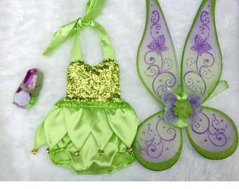 Apple green fairy sequin romper with tutu