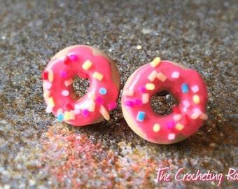 Cute Donut stud earrings ~medium Donut Jewelry Donut Earrings