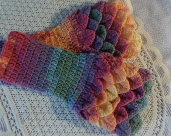 fingerless gloves, wristwarmer gloves, winter accessory, fingerless mittens, dark pastel, crocodile stitch, winter gloves,  hand crochet