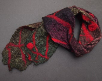 Hand-dyed and felted wrap/scarf