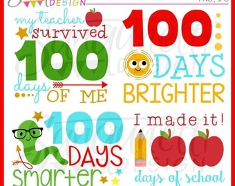 100 days of school clipart, school clipart, teacher clipart, classroom clipart, instant download
