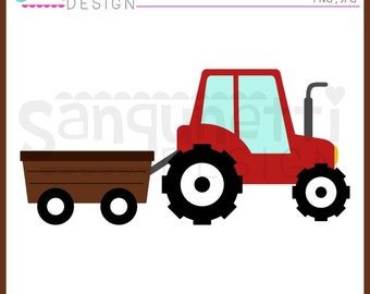 Tractor clipart, wagaon clipart, transportation clipart, farm clipart, Instant download