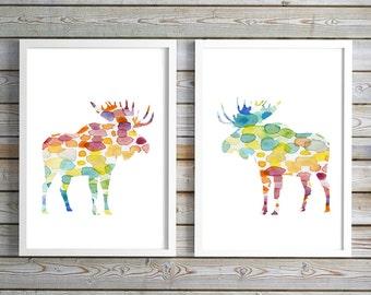 Set of 2 moose Watercolor paintings - Art Prints - moose illustration - moose Decor rainbow color - Nursery Art - Animal Painting moose Art