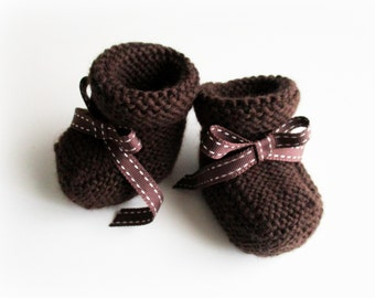 Knitting | Brown baby shoes | Size 3 months