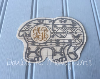 Aztec Elephant Monogram Laptop Decal / Tribal Elephant Decal for Car