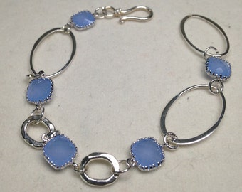 Sterling Silver Link Bracelet with Periwinkle Faceted Glass Beads. Lovely!