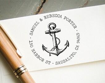Self Inking Return Address Stamp, Anchor with Typewriter Font, Custom Address Stamp, Personalized Address Stamp, Engagement or Wedding Stamp