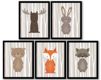 Woodland Nursery Art, Woodland Nursery Decor, Forest Animal Art, Birch Tree Forest Animals Fox Moose Raccoon Rabbit Bear, Fox Nursery Art