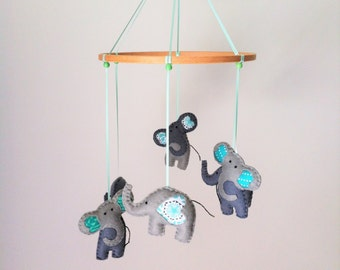 Hand stitched felt Elephant Nursery Mobile in Green and Grey- Custom made