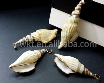 WT-JP008 Wholesale gold dipped natural spiral sea shell pendant ,Gold trimmed sea shell pendant for necklace charm
