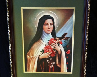 Vintage Saint Therese The Little Flower Extra Large Print in Wood And Gold Frame