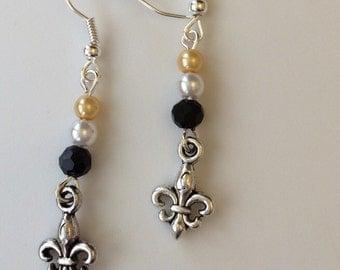 New Orleans Saints Game Day Silver Fleur de Lis Dangle Earrings