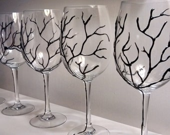 Hand painted wine glasses, tree branch in relief