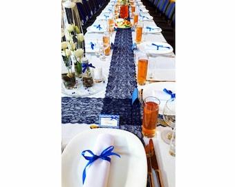 Decorative Wedding tablecloth, royal blue color table runner, wedding table runner, middle tablecloth, lace table decor, wedding centrepiece