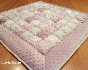 Purple Gray Baby Bubble Quilt Puff Quilt Biscuit Quilt Bubble Blanket for Tummy Time Floor Time Mat