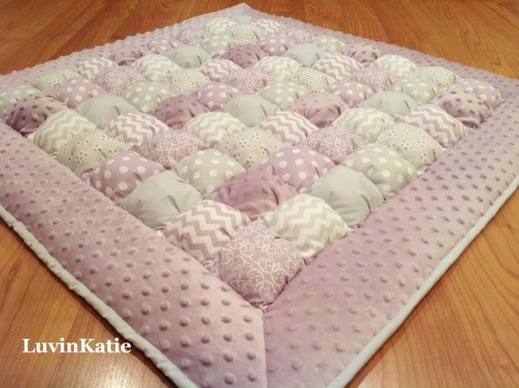 Free Pattern For Baby Puff Quilt : Purple Gray Baby Bubble Quilt Puff Quilt Biscuit Quilt Bubble